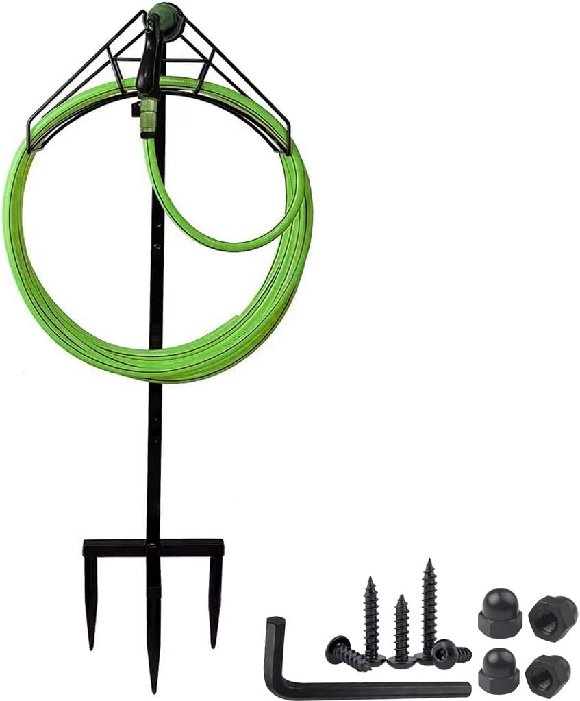Jacobable Freestanding Garden Hose Holder Hanger, Heavy Duty Metal Water Hose Storage Stand Rack for Yard Lawn, Bright Black (Hose not Included) (Black)