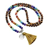 Top Plaza 7 Chakra Mala Prayer Beads 108 Meditation Healing Multilayer Bracelet/Necklace W/Tree of Life Tassel Charm