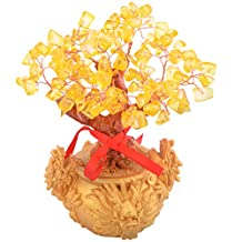Feng Shui Citrine/ Yellow Crystal Gem Money Tree with Chinese Dragon Pots for Wealth H1102-1
