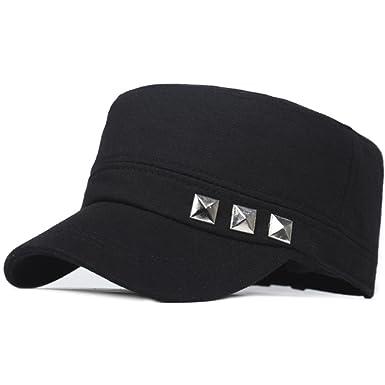 283d9f0f88095 Hat Ladies Caps In spring and autumn in Korean version of the flat Cap  Cap  M Leisure sports Cap  solid rivets baseball cap-B adjustable  Amazon.co.uk   ...