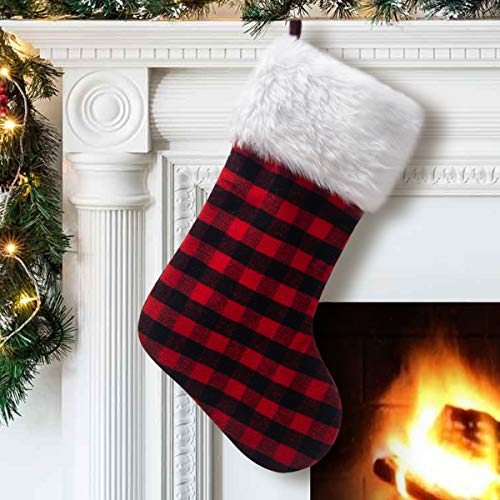 - S-DEAL Red and Black Plaid Christmas Stocking Double Layers Gift Holder White Plush Cuff 21 Inches Decor for Holiday Party Xmas Mantel Ornaments