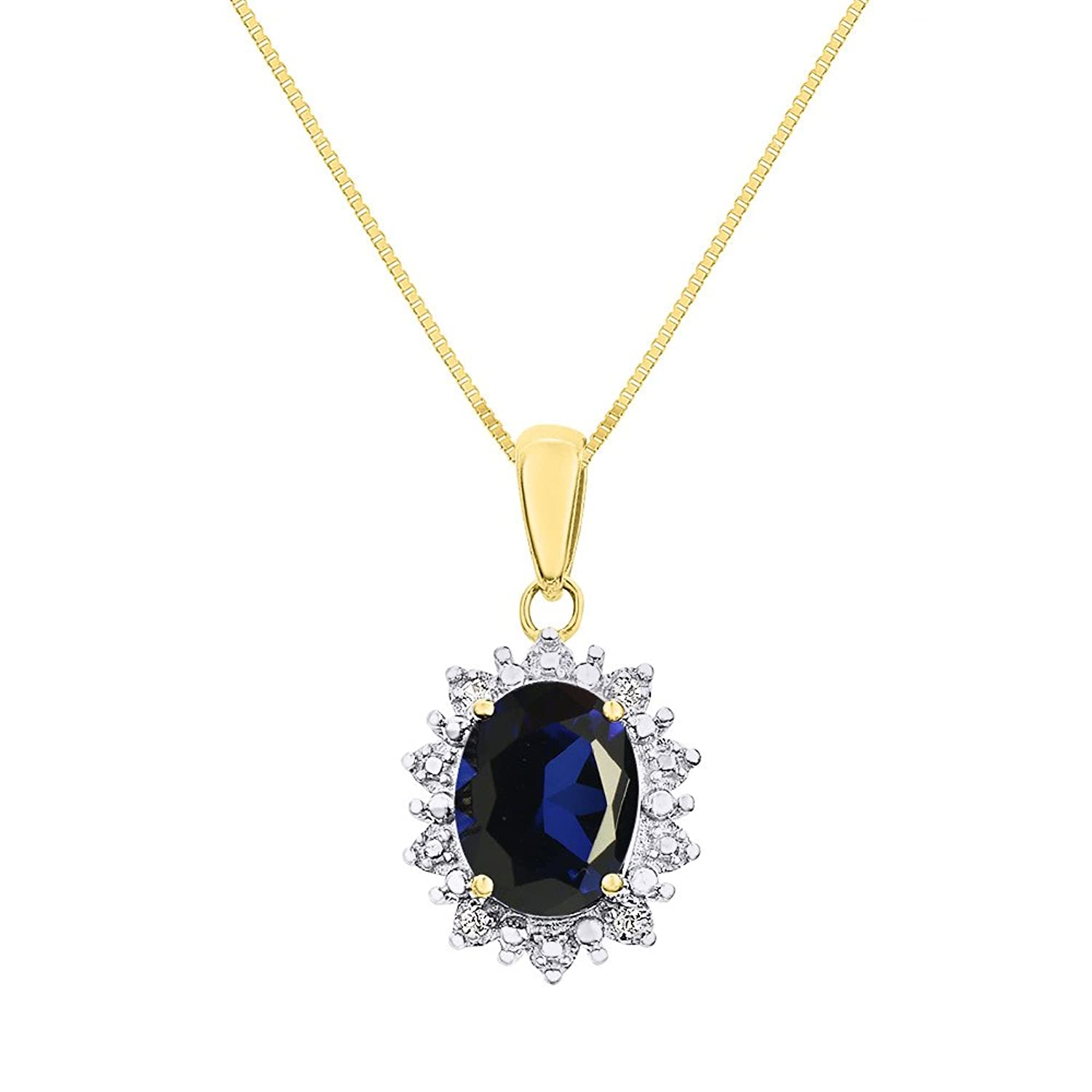 """Diamond & Sapphire Pendant Necklace Set In 14K Yellow Gold with 18"""" Chain Princess Diana Inspired Halo"""