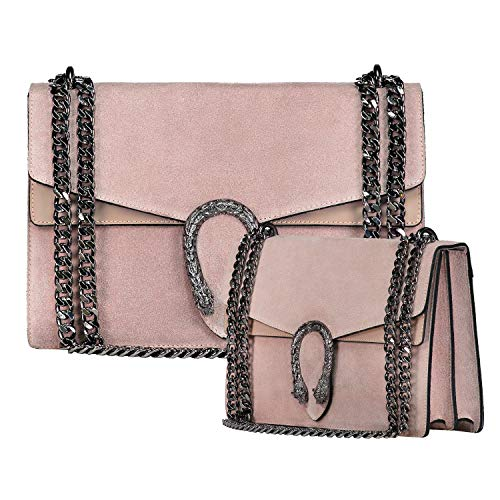 Italian leather suede chain bag cross body bag shoulder handbag clutch flap purse (Large/Medium Nude)