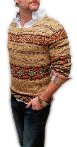 Hand Knit Wool Sweater - Polo Ralph Lauren Mens Indian Hand Knit Sweater Linen Silk Wool Khaki Brown XL