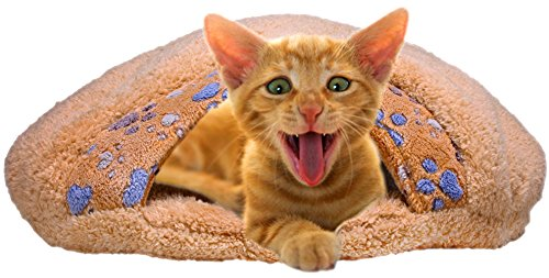 QUMY Cat Sleeping Bag Warm Soft Puppy Cat Bed Cave Igloo Nest Brown (21.5'' 18.8'' 5.1'' ) for Pet under 14 pounds