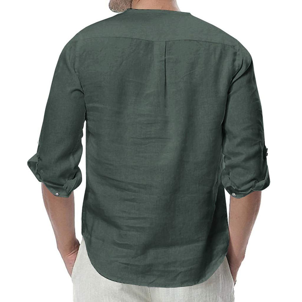 iLXHD Mens T Shirt Linen Button 3//4 Sleeve Solid Color Loose Casual Button Down Short Sleeve