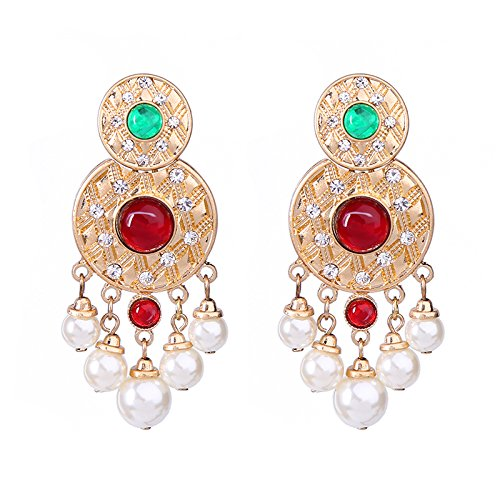 Simulated Pearl Dangling Crystal Alloy Hanging Earrings Online Shopping India Statement Earrings Women ()
