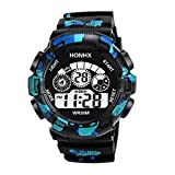 Men Outdoor Sports Watch Quartz LED Military Analog Multifunction Wrist Watches Silicone Band