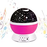 Night Light Music Projector Romantic Rotating Cosmos Star Moon Ceiling for Kids Gift in Room Pink