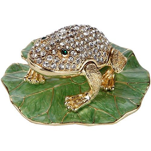 Home-X Frog Shaped Jewelry Box. Trinket Box - Lily Frog Pad Display