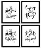 black and white bathroom decor TheNameStore Bathroom Quotes and Sayings Art Prints | Set of Four Photos 8x10 Unframed | Great Gift for Bathroom Decor