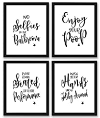 Bathroom Quotes and Sayings Art Prints | Set of Four Photos 8x10 Unframed | Great Unique Inspirational BATHROOM DECOR Gift  Each Bathroom Quotes and Sayings Art Prints print is high gloss 8 x 10 and is ready to be framed. You're family membe...