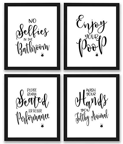 TheNameStore Bathroom Quotes and Sayings Art Prints | Set of Four Photos 8x10 Unframed | Great Gift for Bathroom Decor (And Art White Wall Bathroom Black)