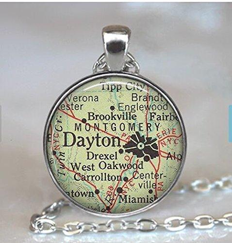 Dayton, Ohio map pendant, Dayton map necklace, Dayton necklace, Dayton pendant, map jewelry Dayton keychain key chain key - The Dayton Ohio Green