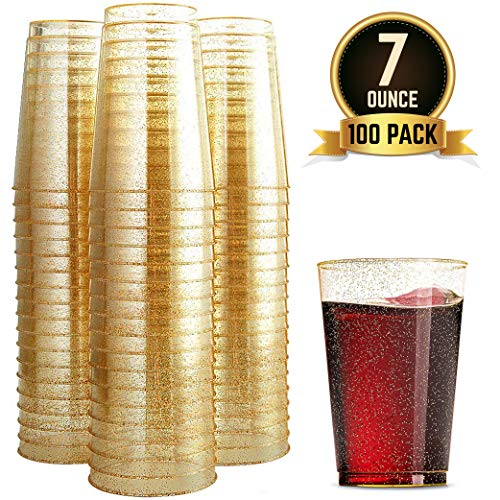 Party Products - 100 Glitter Plastic Cups 7 Oz