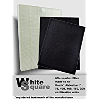 Oreck AirInstinct 75, 100, 108, 150, 200 HEPA Air Filter with Odor Absorber 2 Pack by White Square