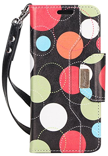 ProCase Galaxy S8 Wallet Case, Flip Kickstand Case with Card Slots Mirror Wristlet, Folding Stand Protective Cover for Galaxy S8 2017 -Circles