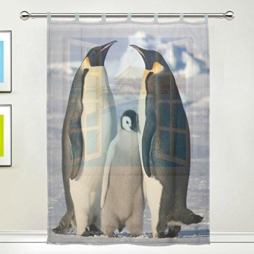 1 Piece Tulle Voile Window Room Decoration Sheer Curtain,Blue Penguin Family,Single panel Gauze Curtain Drape Panel Valance 55 x 78 inch