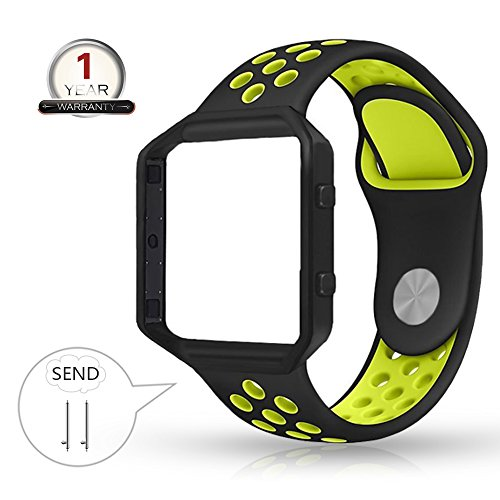 YOUKEX for Fitbit Blaze Bands Silicone with Frame,Small Breathable Sport Replacement Strap with Black Metal Case for Smart Fitness Watch Women Men (Black/Yellow,Small Size) ()