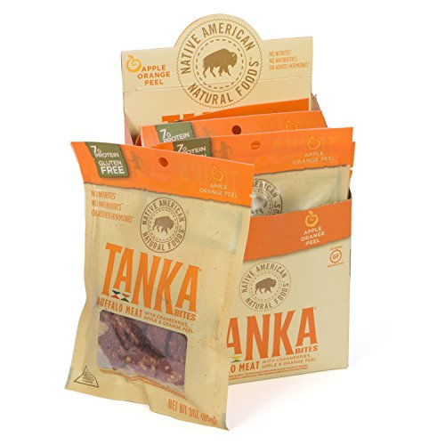 Gluten Free Meat Bar Bites with Buffalo and Cranberries, Beef Jerky Alternative, Apple Orange Peel by Tanka, 3 Ounce Bag, Pack of 6