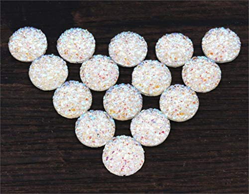 Kamas New 40pcs/Lot 12mm White AB Color Natural Stone Style Flat Back Resin Cabochons Cameo Fit 12mm Earrings Cameo Base Tray -G5-33