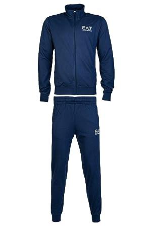 new arrival 2a7ff 5e5c6 EA Tuta EA7 Emporio Armani 7 6ZPV51 Uomo Giacca+Pantaloni Felpa Zip Blu  Cotone