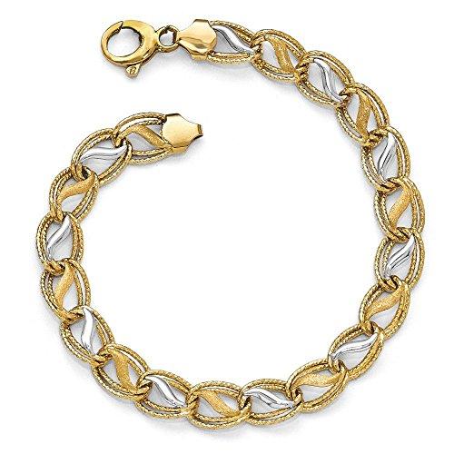 Bracelet bicolore 14 carats-poli et texturé brossé - 19 cm-JewelryWeb