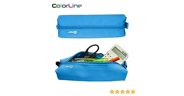 Colorline 59311 - Portatodo Cuadrado, Estuche Multiuso para Viaje, Material Escolar, Neceser y Accesorios. Color Azul Claro, Medidas 22 x 6 x 5 cm: Amazon.es: Oficina y papelería