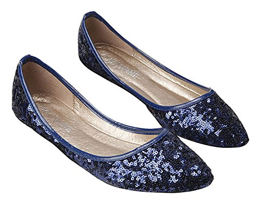 Sequin Ballet Flat - Plaid&Plain Women's Sequins Pointed Toe Slip On Low Cut Pumps Boat Flats Ballets Blue 40