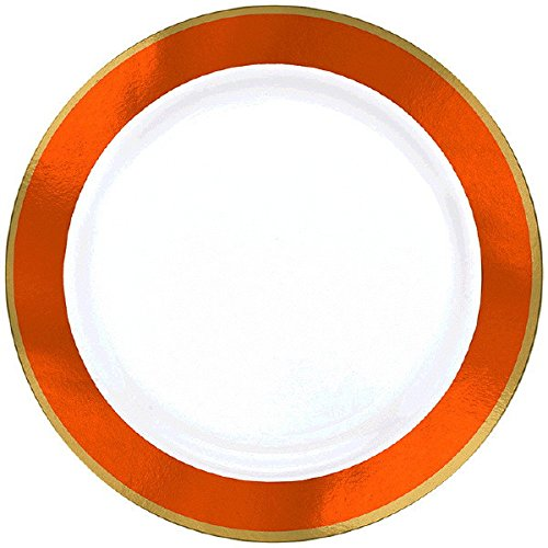 Premium Plastic Plates | White/Orange Peel | 6.25
