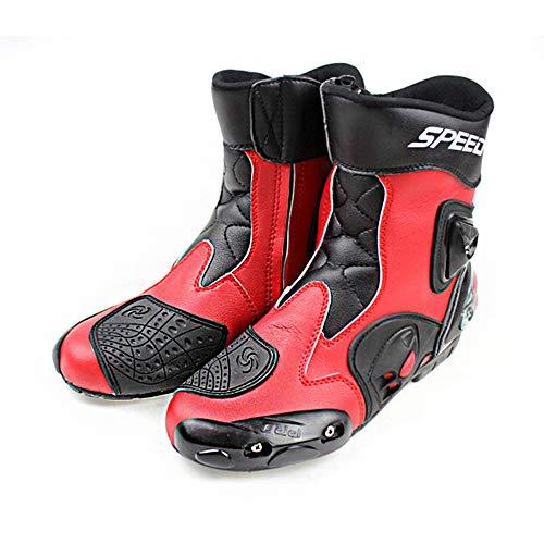 MRDEAR Motorradstiefel Kurz Herren Leder Motorrad Stiefel Rot Motocross-Stiefel Wasserdicht Sport Schuhe Motorradschuhe…
