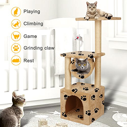 Yohoz 36in Deluxe Faux Fur Level Cat Tree Condo Furniture Climbing Activity Tower Scratching Scratcher Post Kittens Pet Play House and Tunnel Play Toy (Paw) by Yohoz (Image #2)