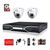 720P Wired Home Security Camera System 4 Channel DVR Video Surveillance System 2 × 1.0MP Indoor CCTV Dome Camera with Night Vision 1TB Hard Drive Motion Detection
