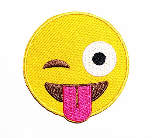 Tongue Patch (HHO Emoji Sticking out tongue Cheeky Playful Smile Face Cartoon Kid Patch Embroidered DIY Patches, Cute Applique Sew Iron on Kids Craft Patch for Bags Jackets Jeans Clothes)