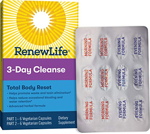 Renew Life Adult Cleanse Total Body Reset, Advanced Herbal Formula – 2-Part, 3-Day Program – Gluten, Dairy & Soy Free…