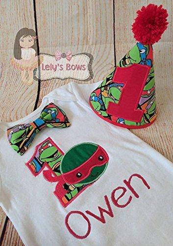 Teenage Mutant Ninja turtles birthday shirt, TMNT birthday set, 1st birthday Ninja turtle shirt, embroidered TMNT shirt, Teenage Ninja]()
