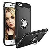 iPhone 6 Plus Case,Aemotoy Protective Covers W 360 Degrees Ring Kickstand Clip Metal Plate Bracket Holster Shockproof Defender Anti-Scratch Phone Cases for iPhone 6 Plus (Black)