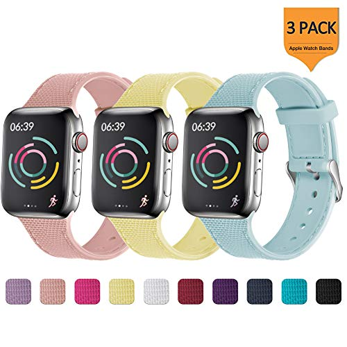 (GEAK Stylish Band Compatible with Apple Watch Band 44mm 42mm for Women Men,Soft Silicone Replacement Band with Stainless Steel Buckle for iWatch Series 1/2/3/4,42mm/44mm S/M Yellow/Snadpink/Turquoise )