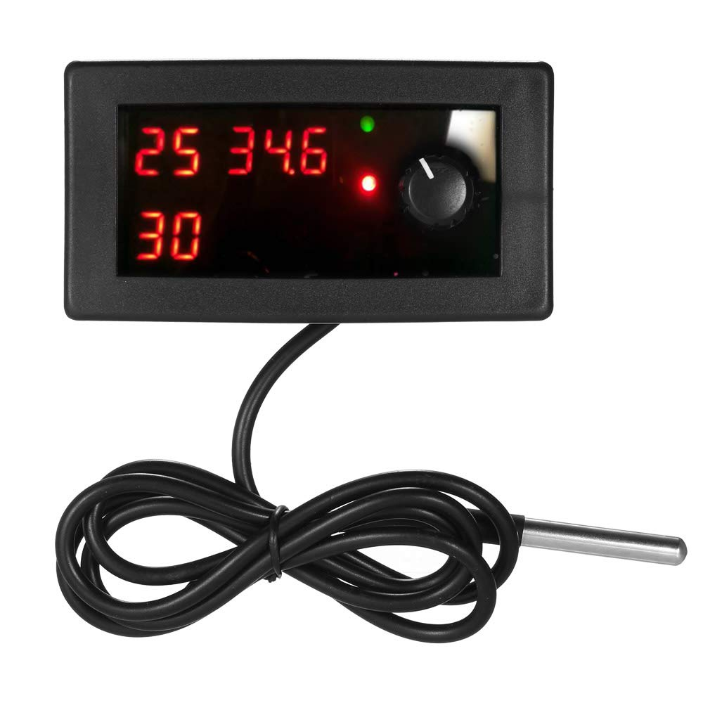 Festnight DC12V Digital Cooling/Heating Thermostat Temperature Controller Temp Control Single Circuit -55~125℃ 10A Relay with Waterproof Sensor Probe