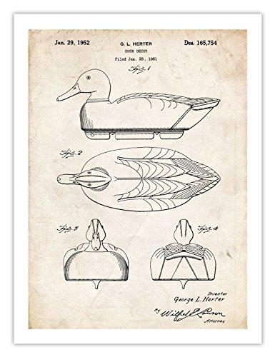 Steves Poster Store VINTAGE DUCK DECOY DESIGN POSTER 1952 US PATENT ART POSTER PRINT 18X24 HERTER HUNTER GEESE MALLARD HUNTING GIFT