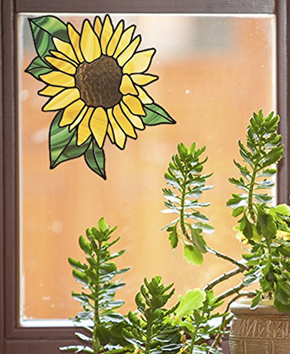 (CLR:WND - Sunflower - D2 - Stained Glass Style Vinyl Window Decal - Copyright Yadda-Yadda Design Co. (SIZE VARIATIONS AVAILABLE) (MEDIUM 5.5