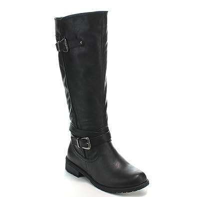 1ab6b6894b9e Forever Mango-24 Women's Shaft Side Zipper Knee High Flat Riding Boots,Black ,