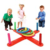 Hotsellhome 2018 New Fun Multicolor Hoop Ring Toss Plastic Ring Toss Quoits Garden Game Beach Pool Toy Outdoor Set Kids Boys Girls Stress Relief Toy Gift for Children Adult