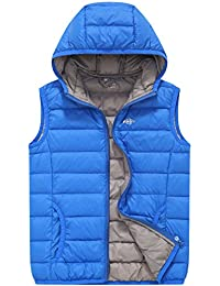 Wantdo Boy's Packable Hooded Puffer Down Vests Sleeveless Lightweight Jackets