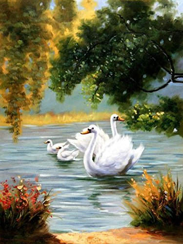 Micro Innovations Standard Keyboard (Oil Painting 'White Swans In The Lake', 10 x 13 inch / 25 x 34 cm , on High Definition HD canvas prints is for Gifts And Foyer, Hallway And Home Office Decoration, prints on)