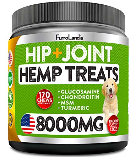Organic Hemp Hip & Joint Supplement for Dogs - 170 Soft Chews - Made in USA - Glucosamine for Dogs - Chondroitin - MSM - Turmeric - Organic Hemp Seed Oil - Natural Pain Relief & Mobility