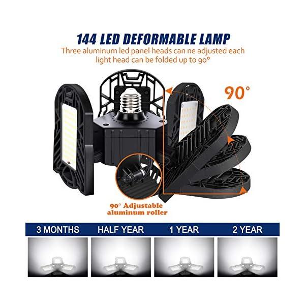 6000K Ceiling Light for Workshop Basement Warehouse 6000LM E26//E27 60W LED Ultra-Bright Shop Lighting with 3 Adjustable Cast-Aluminum Panels Black CRI 80 Garage LED Garage Lights Deformable