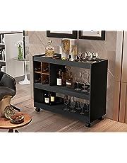 Aparador Bar Com Rodizios 4050 Cor Preto/Caramelo