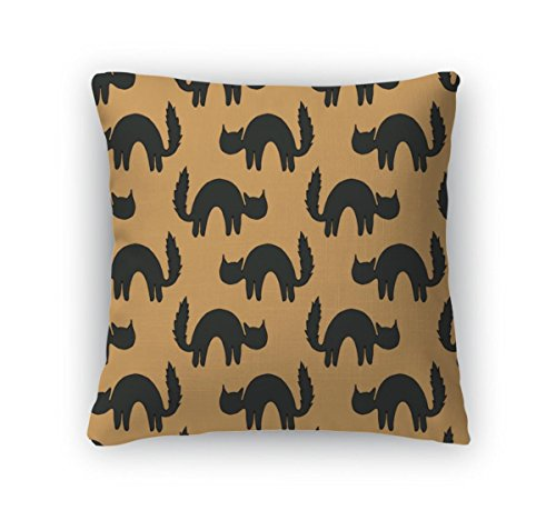 Gear New Throw Pillow Accent Decor, Black Scared Cats Animal Pattern Of Cat Silhouettes For Halloween, 16