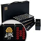 Japanese Riichi Mahjong Set with Black Tiles